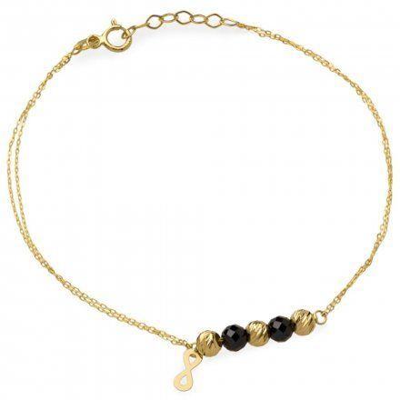 Biżuteria SAXO Złota bransoletka nieskończoność koraliki 2-4-B00373-1.15