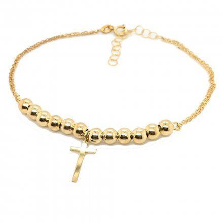 Biżuteria SAXO Złota bransoletka Krzyżyk Kulki 2-4-B00103-2.42