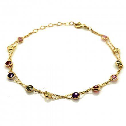 Biżuteria SAXO Złota bransoletka podwójna z kolorowymi kamieniami 2-16-B00012-2-2.37