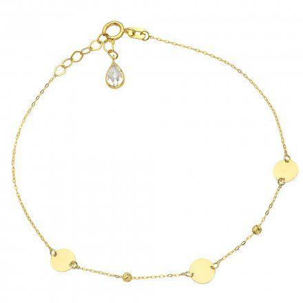 Biżuteria SAXO Złota bransoletka kryształ kółka koraliki 2-4-B00505-0.76