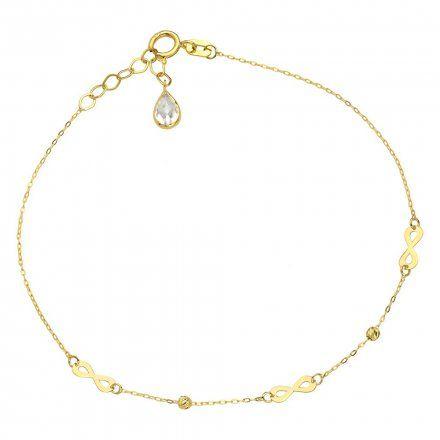 Biżuteria SAXO Złota bransoletka kryształ nieskończoność koraliki 2-4-B00504-0.72