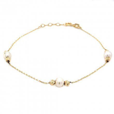Biżuteria SAXO Złota bransoletka  perełka koraliki 2-21-B00378-1.34