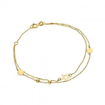 Biżuteria SAXO Złota bransoletka podwójna koła diamenciki gwiazdka 2-21-B00311-1.22