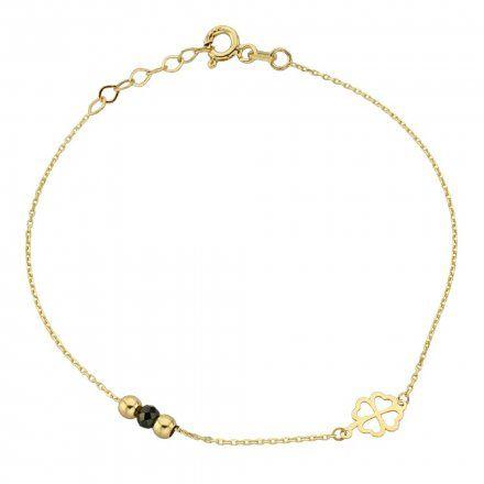 Biżuteria SAXO Złota bransoletka złote kuleczki i koniczynka 2-21-B00431-0.88