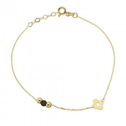 Biżuteria SAXO Złota bransoletka złote kuleczki i kwiatek 2-21-B00430-0.89