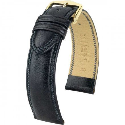 Czarny pasek skórzany 20 mm HIRSCH Ascot 01575050-1-20 (L)