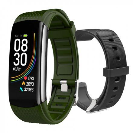 Czarny smartwatch męski damski Rubicon RNCE59BINX01AX + ZIELONY PASEK