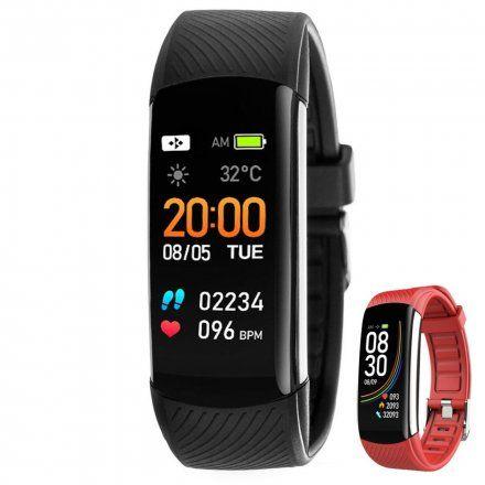 Czarny smartwatch męski damski Rubicon RNCE59RIBX01AX + CZERWONY PASEK