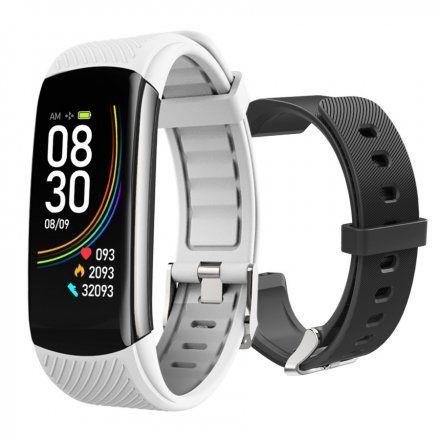 Czarny smartwatch męski damski Rubicon RNCE59SIBX01AX + BIAŁY PASEK