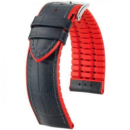 Czarno-czerwony pasek skórzany 22 mm HIRSCH Andy 0922028050-2-22 (L)