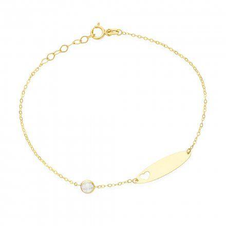 Biżuteria SAXO Złota bransoletka dziecięca blaszka diamencik 2-4-B00462-0.77