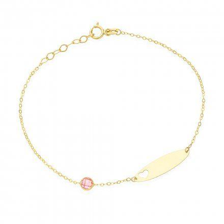 Biżuteria SAXO Złota bransoletka dziecięca blaszka diamencik 2-4-B00463-0.76