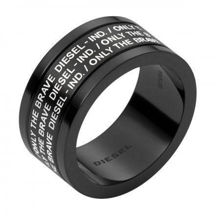 BIŻUTERIA DIESEL Czarny Pierścień męski r.22 DX1289001