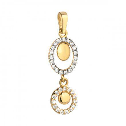 Biżuteria SAXO Zawieszka złote owal i kółko z cyrkoniami 6-4-Z00237-0.96