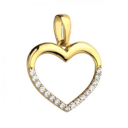 Biżuteria SAXO Zawieszka złota serce z połową w cyrkoniach 6-21-Z00121-0.70