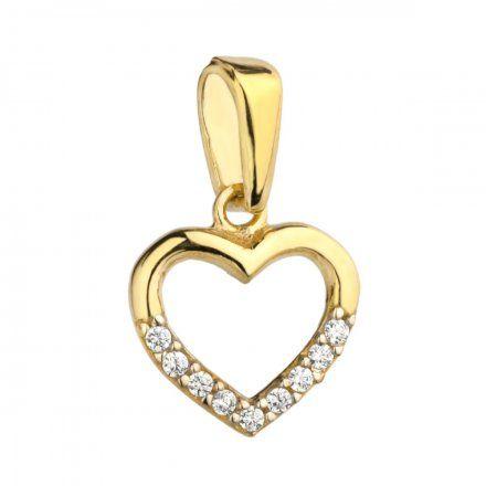 Biżuteria SAXO Zawieszka złota serce z połową w cyrkoniach 6-21-Z00122-0.47