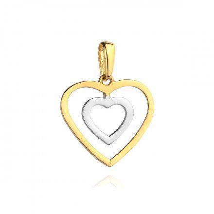 Biżuteria SAXO Zawieszka złota dwukolorowa serce w sercu 6-21-Z00124-0.62