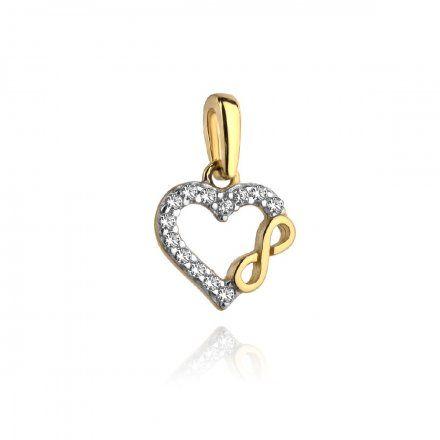 Biżuteria SAXO Zawieszka złota serce z nieskończonością w cyrkoniach 6-21-Z00175-0.54