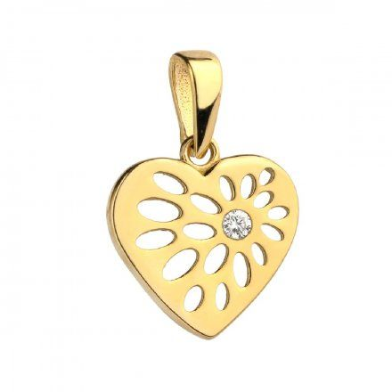 Biżuteria SAXO Zawieszka złota serce wzorki z cyrkonią 6-21-Z00191-0.50