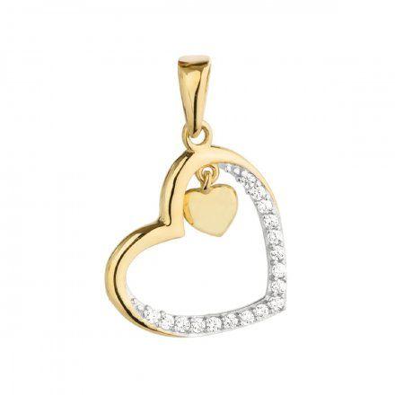 Biżuteria SAXO Zawieszka złota serca z cyrkoniami  6-21-Z00224-0.89