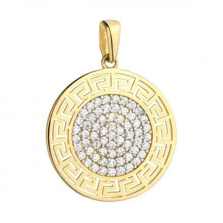 Biżuteria SAXO Zawieszka złote koło grecki wzór z cyrkoniami 6-21-Z00236-1.88