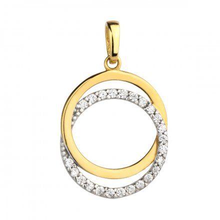 Biżuteria SAXO Zawieszka złote koło z cyrkoniami 6-25-Z00134-0.95