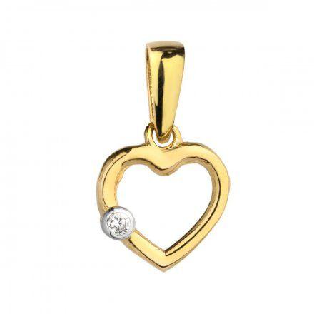 Biżuteria SAXO Zawieszka złota serce z cyrkonią 6-25-Z00136-0.29