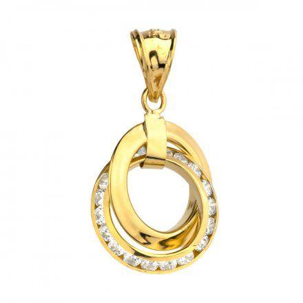Biżuteria SAXO Zawieszka złote splecione koła z cyrkoniami 6-25-Z00143-1.00