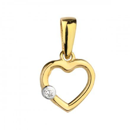 Biżuteria SAXO Zawieszka złota serce z cyrkonią 6-25-Z00192-0.60
