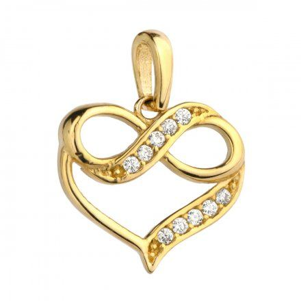 Biżuteria SAXO Zawieszka złota serce z nieskończonością w cyrkoniach 6-25-Z00196-0.95