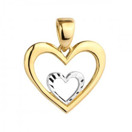 Biżuteria SAXO Zawieszka złota dwukolorowa serce w sercu 6-25-Z00222-0.92