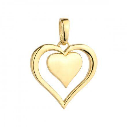 Biżuteria SAXO Zawieszka złota dwukolorowa serce w sercu 6-25-Z00223-2-0.78