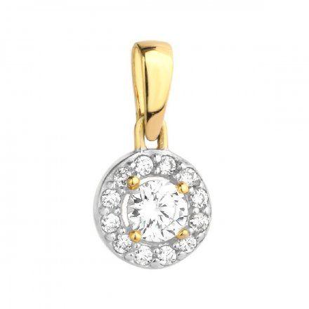 Biżuteria SAXO Zawieszka złota okrągła cyrkoniami 6-25-Z000232-0.56