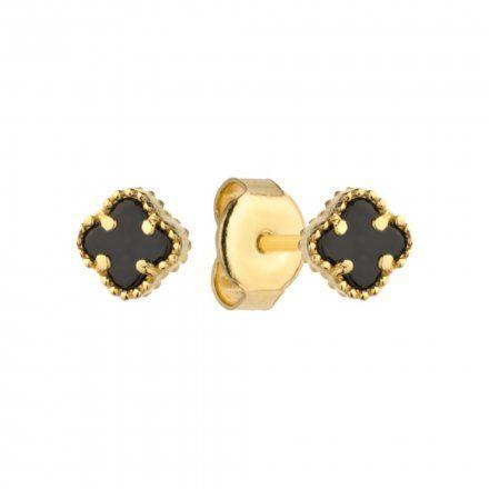 Biżuteria SAXO Kolczyki Złote Czarne Koniczynki 7-4-K00094-0.94