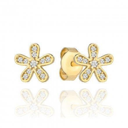 Biżuteria SAXO Kolczyki Złote Kwiatek Cyrkonie 7-4-K00103-1.06