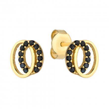 Biżuteria SAXO Kolczyki Złote Owale Czarne Kamienie  7-4-K00250-1.07