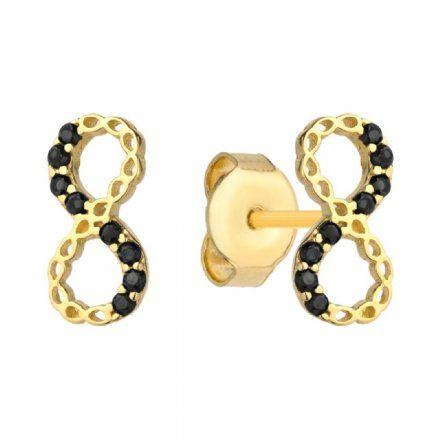 Biżuteria SAXO Kolczyki Złote Owale Czarne Kamienie  7-4-K00252-0.95