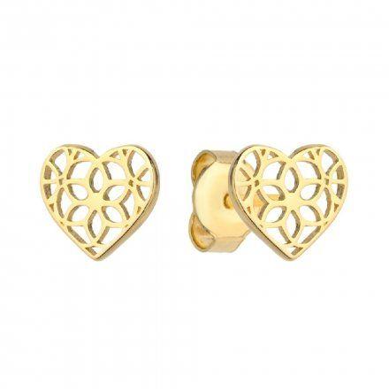 Biżuteria SAXO Kolczyki Złote Ażurowe Serce 7-4-K00273-0.83