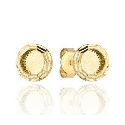 Biżuteria SAXO Kolczyki Złote Kółka Diamentowane 7-4-K00304-1.38