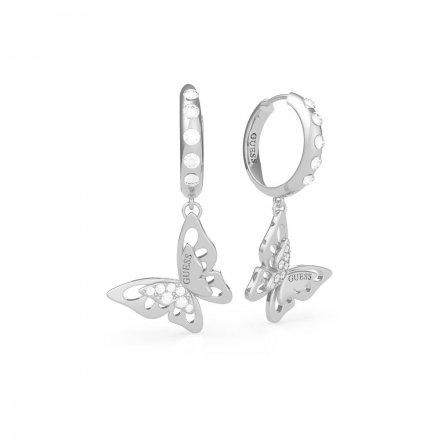 Biżuteria Guess kolczyki srebrne wiszące Fly Away UBE70190