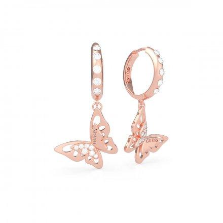 Biżuteria Guess kolczyki różowe złoto wiszące Fly Away UBE70191