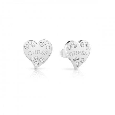 Biżuteria Guess kolczyki srebrne Heart Warming UBE78051