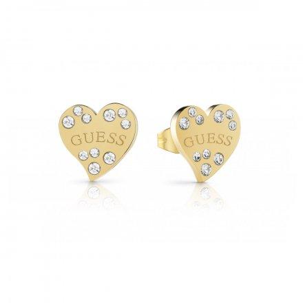 Biżuteria Guess kolczyki złoty Heart Warming UBE78052