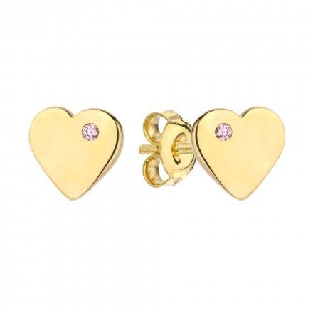Biżuteria SAXO Kolczyki Złote Serce z różową cyrkonią 7-25-K00596-0.85