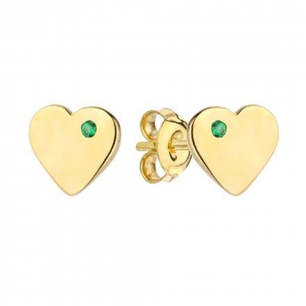Biżuteria SAXO Kolczyki Złote Serce z zieloną cyrkonią 7-25-K00598-0.84