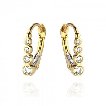 Biżuteria SAXO Kolczyki Złote podłużne z cyrkoniami 7-25-K00601-1.09