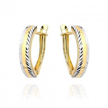 Biżuteria SAXO Kolczyki Złote z białym złotem diamentowane 7-25-K00602-1.53