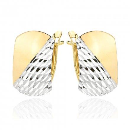 Biżuteria SAXO Kolczyki Złote prostokąty z białym złotem diamentowane 7-25-K00603-1.95