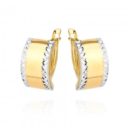 Biżuteria SAXO Kolczyki Złote prostokąty z białym złotem diamentowane 7-25-K00604-1.82
