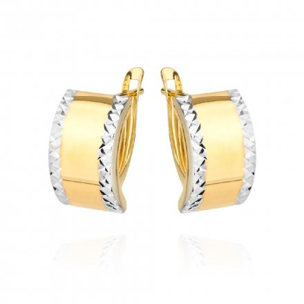 Biżuteria SAXO Kolczyki Złote prostokąty z białym złotem diamentowane 7-25-K00604-1.85